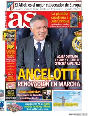 Portada AS: la renovación de Ancelotti contrato