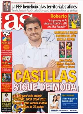 Portada AS: Casillas candidato al mejor portero del año