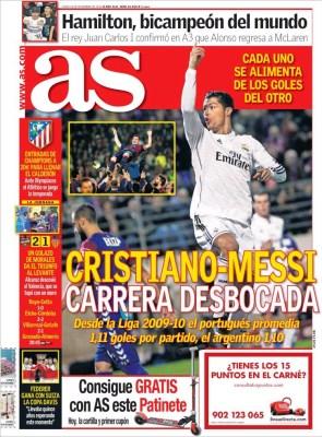 Portada As: la lucha Cristiano-Messi