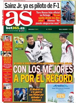 Portada AS: Real Madrid-Málaga a por el récord de victorias