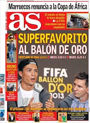 Portada AS: los favoritos al Balón de Oro 2014 messi neuer ronaldo