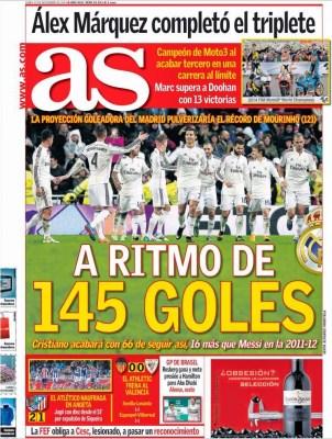 Portada AS: 145 goles