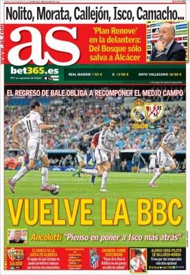 Portada AS: Vuelve la BBC ante el Rayo Vallecano bale benzema cristiano ronaldo