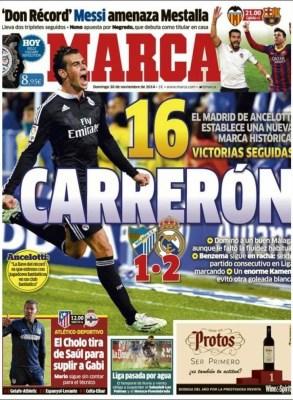 Portada Marca: Real Madrid récord 16 victorias seguidas