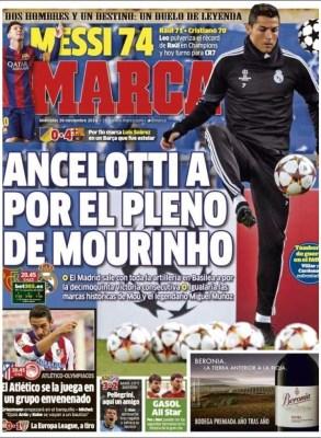 Portada Marca: Ancelotti a por el pleno de Mourinho