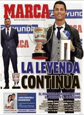 Portada Marca: Cristiano Ronaldo es leyenda premio pichichi 2013-2014 distefano