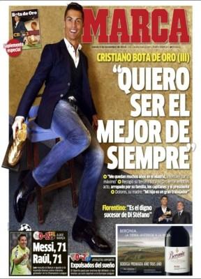 Portada Marca: Cristiano Ronaldo recibe su tercera Bota de Oro