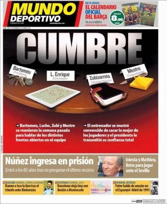 Portada Mundo Deportivo: Cumbre en el Barça
