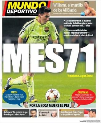 Portada Mundo Deportivo: Messi récord iguala 71 goles raúl