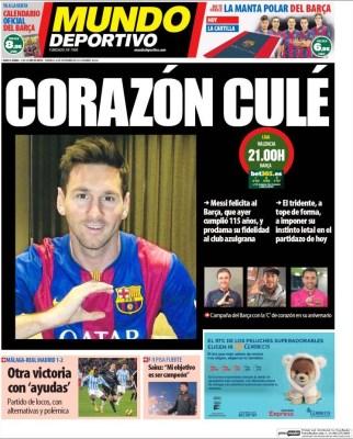 Portada Mundo Deportivo: Messi con el corazón en el Barça