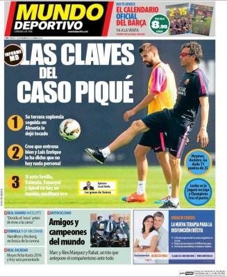 Portada Mundo Deportivo: las claves del caso Piqué