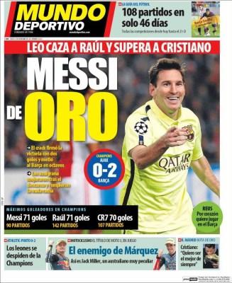 Portada Mundo Deportivo: Messi iguala los 71 goles de Raúl en champions