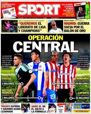 Portada Sport: el Barcça busca fichar un central