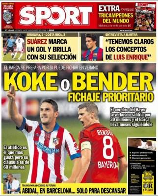 Portada Sport: Koke o Bender