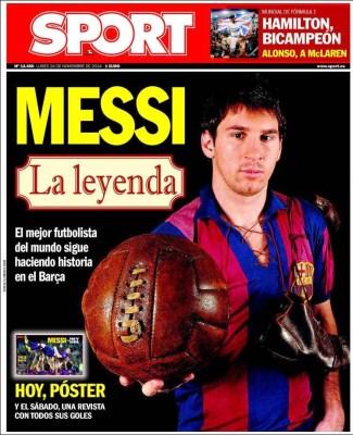 Portada Sport: Lionel Messi, la leyenda supera a zarra goleador histórico