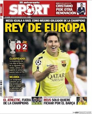 Portada Sport: Messi iguala los 71 goles de Raúl en Champions