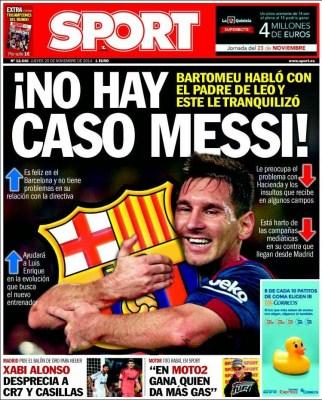 Portada Sport: Lionel Messi se queda en el barcelona