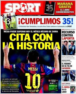 Portada Sport: Lionel Messi se cita con la historia