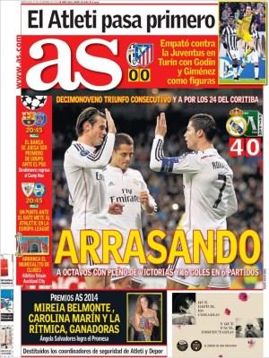 Portada AS: Real Madrid récord 19 triunfos seguidos champions ludogorets