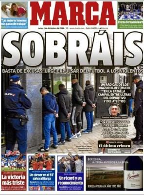 Portada Marca: matan hincha del Deportivo la coruña, basta de violencia en el fútbol