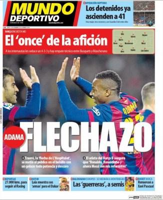Portada Mundo Deportivo: Adama flechazo con el Barça