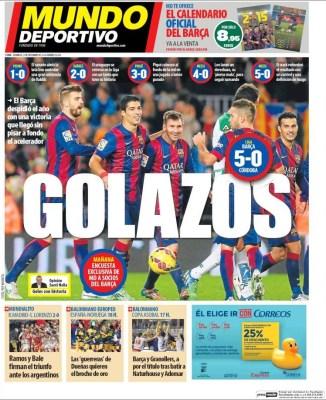 Portada Mundo Deportivo: Barcelona golea al Córdoba 5-0