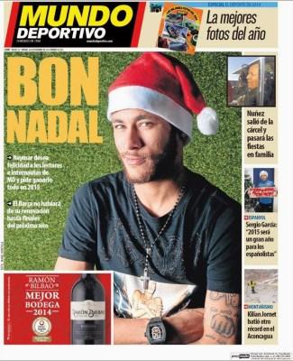 Portada Mundo Deportivo: Neymar, Bon Nadal