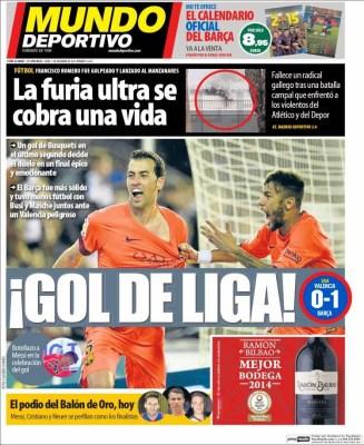 Portada Mundo Deportivo: Busquets salva al Barça ante el valencia