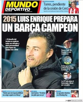 Portada Mundo Deportivo: Luis Enrique quiere un Barça campeón