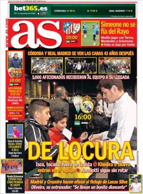 Portada AS: De locura Córdoba vs. Real Madrid