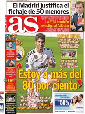 Portada AS: Lucas Silva es presentado en el Bernabéu