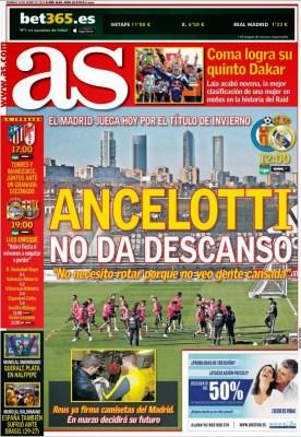 Portada AS: Ancelotti no da descanso