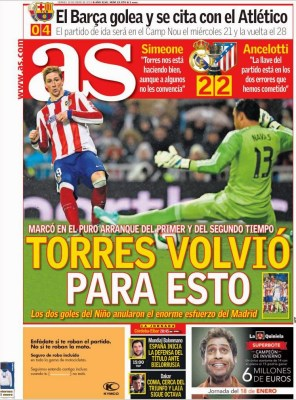 Portada AS: el niño Torres fulmina al Madrid
