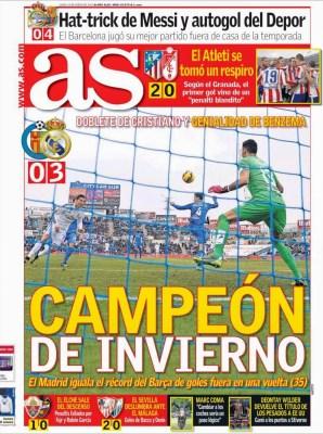 Portada AS: Real Madrid campeón de invierno 2015