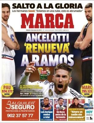 Portada Marca: Ancelotti renueva a Ramos gasol all star