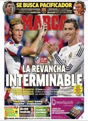 Portada Marca: Atlético vs. Real Madrid por la copa del rey octavos de final