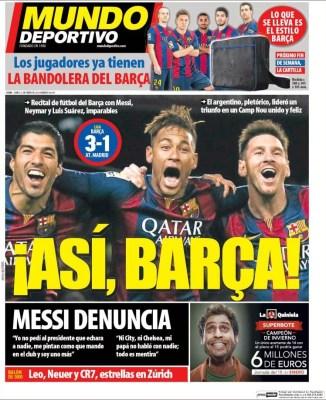 Portada Mundo Deportivo: el tridente MSN liquida al Atlético messi neymar suarez