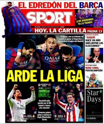 Portada Sport: Arde la liga