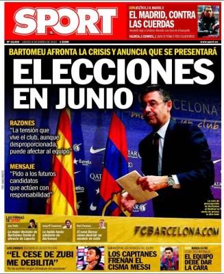 Portada Sport: elecciones en junio bartomeu