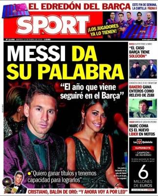Portada Sport: Cristiano Ronaldo Balón de Oro 2014