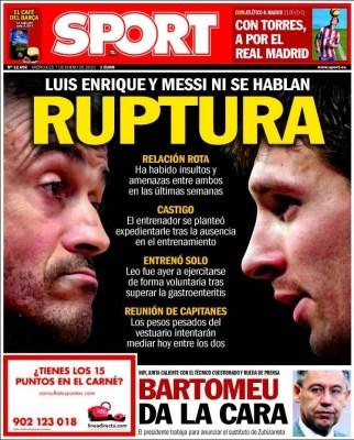 Portada Sport: ruptura Messi-Luis Enrique