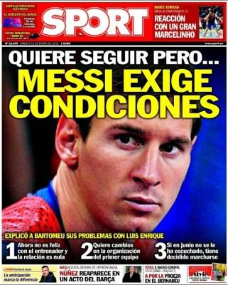 Portada Sport: Messi exige condiciones o se va en junio