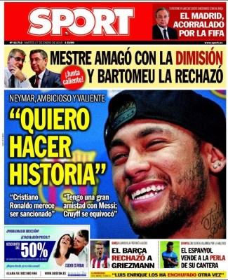 Portada Sport: Neymar quiere hacer historia