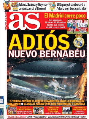 Portada AS: adiós al Nuevo Bernabéu