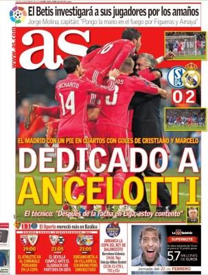 Portada As: dedicado a Ancelotti champions