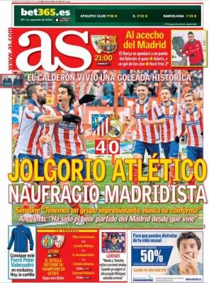 Portada AS: jolgorio Atlético, naufragio madridista