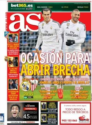 Portada AS: Real Madrid vs. Sevilla