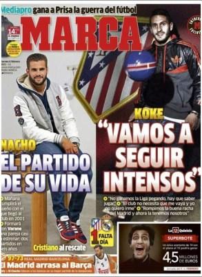 Portada Marca: se viene el derbi Atlético-Real Madrid