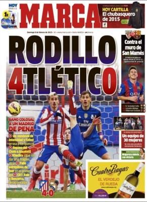Portada Marca: Rodillo Atlético golea a los de ancelotti