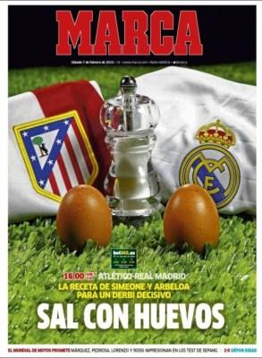 Portada Marca: Sal con huevos derbi Atlético Real Madrid